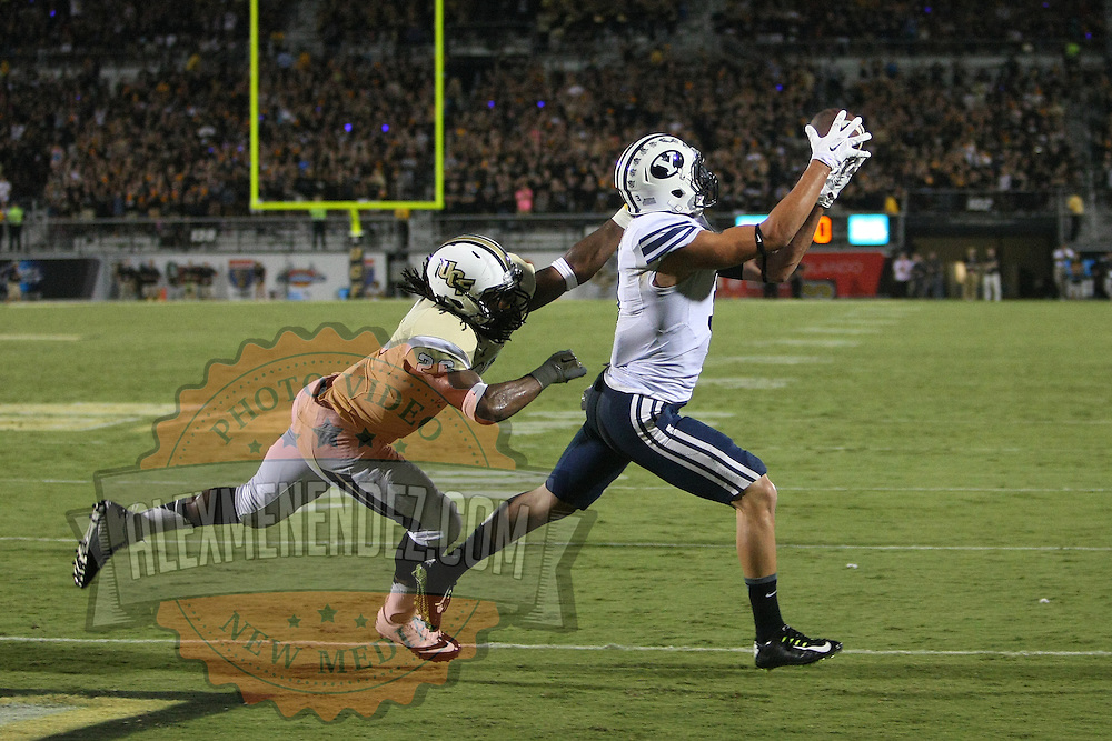 ORLANDO, FL - OCTOBER 09:  Colby Pearson #3 of the Brigham Young Cougars catches a touchdown pass early in the third quarter at Bright House Networks Stadium on October 9, 2014 in Orlando, Florida. (Photo by Alex Menendez/Getty Images) *** Local Caption ***Colby Pearson