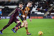 Hull City forward Jarrod Bowen (20)  during the EFL Sky Bet Championship match between Hull City and Swansea City at the KCOM Stadium, Kingston upon Hull, England on 22 December 2018.