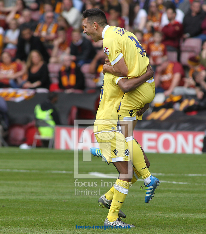 Joe Martin (R) of Millwall  celebrates scoring the 3rd goal  against Bradford City during the Sky Bet League 1 Playoff  Semi-final Leg One at the Coral Windows Stadium, Bradford<br /> Picture by Stephen Gaunt/Focus Images Ltd +447904 833202<br /> 15/05/2016