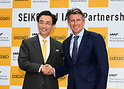 Seiko Holdings Corporatin chairman and group chief executive officer Shinji Hattori (left) and IAAF president Sebastian Coe shake hands during a news conference prior to the IAAF World Relays, Friday, May 10, 2019,  in Yokohama, Japan.