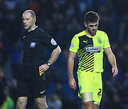 Huddersfield Town defender Tommy Smith leaves the field after being dismissed by referee Graham Horwood during the Sky Bet Championship match between Brighton and Hove Albion and Huddersfield Town at the American Express Community Stadium, Brighton and Hove, England on 23 January 2016. Photo by Bennett Dean.