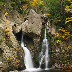Bish Bash Falls in Bish Bash Falls State Park in Mount Washington, Massachusetts. Fall.