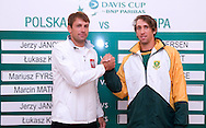 (L) Lukasz Kubot of Poland & (R) Jean Andersen of South Africa while official draw one day before the BNP Paribas Davis Cup 2013 between Poland and South Africa at MOSiR Hall in Zielona Gora on April 04, 2013...Poland, Zielona Gora, April 04, 2013..Picture also available in RAW (NEF) or TIFF format on special request...For editorial use only. Any commercial or promotional use requires permission...Photo by © Adam Nurkiewicz / Mediasport
