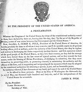 Mexican-American War 1846-1848. Proclaimation of war with Mexico issued by United States President Polk and Secretary of State James Buchanan.