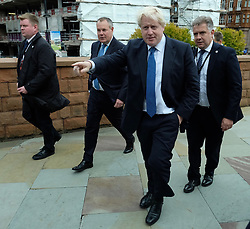 (c) Licensed to London News Pictures. <br /> 02/10/2017<br /> Manchester, UK<br /> <br /> Foreign Secretary Boris Johnson walks into the main auditorium at the Conservative Party Conference held at the Manchester Central Convention Complex.<br /> <br /> Photo Credit: Ian Forsyth/LNP