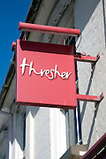 Thresher off licence shop chain sign, now closed and in administration