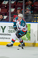 KELOWNA, CANADA - FEBRUARY 2: Nolan Foote #29 of the Kelowna Rockets looks to pass the puck against the Kamloops Blazers on February 2, 2019 at Prospera Place in Kelowna, British Columbia, Canada.  (Photo by Marissa Baecker/Shoot the Breeze)