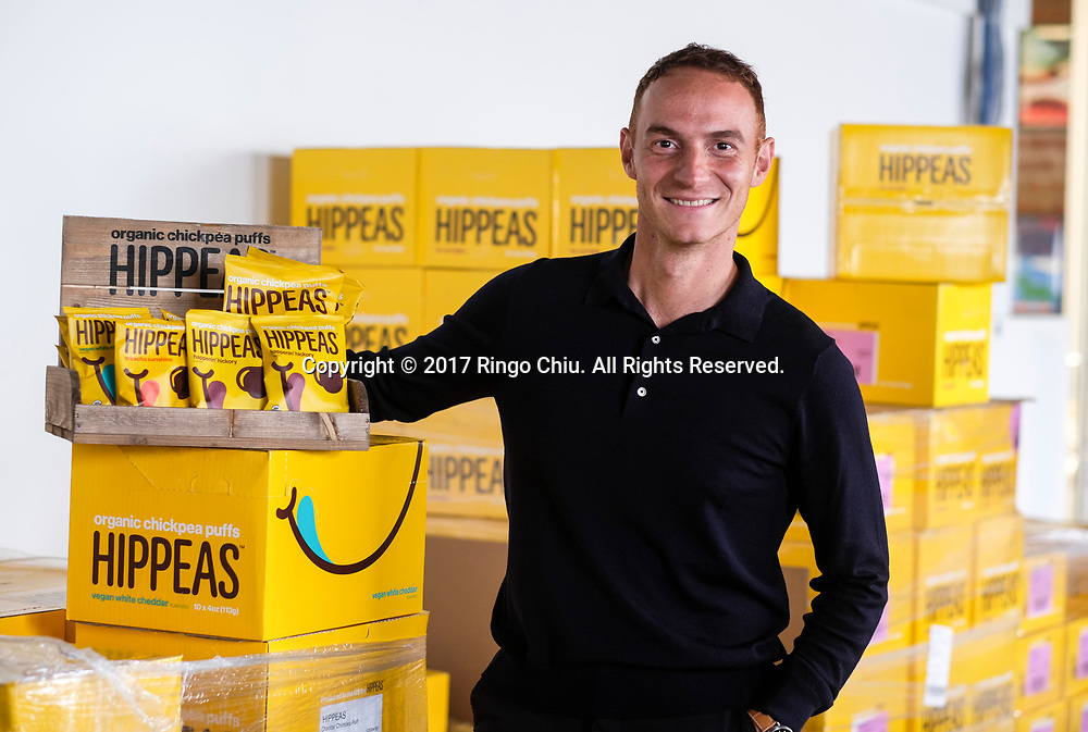 Livio Bisterzo the founder and CEO of Green Park Brands with their brand HIPPEAS, an all-new range of organic chickpea puffs.(Photo by Ringo Chiu)<br /> <br /> Usage Notes: This content is intended for editorial use only. For other uses, additional clearances may be required.