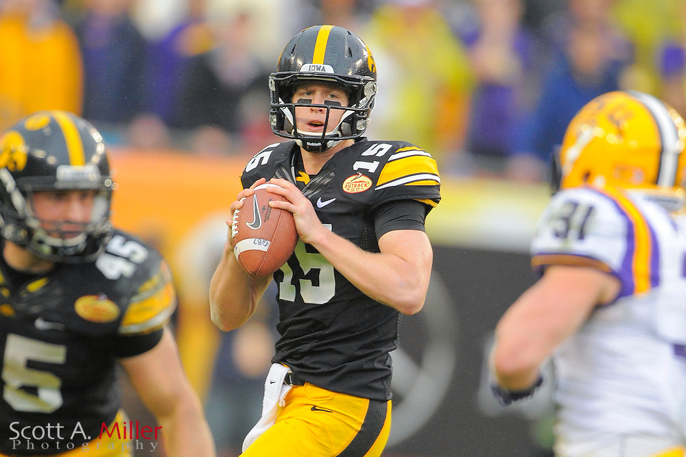 Iowa Hawkeyes quarterback Jake Rudock (15) during the LSU Tigers 21-14 win over the Hawkeyes in the 2014 Outback Bowl at Raymond James Stadium January 1, 2014 in Tampa, Florida.      <br />  &copy; 2014 Scott A. Miller