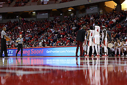 10 January 2018:  Redbird huddle during a College mens basketball game between the Loyola Chicago Ramblers and Illinois State Redbirds in Redbird Arena, Normal IL
