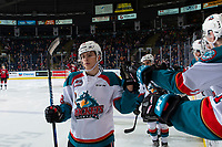 KELOWNA, CANADA - JANUARY 26:  Leif Mattson #28 of the Kelowna Rockets fist bumps teammates after a second period goal against the Vancouver Giants on January 26, 2019 at Prospera Place in Kelowna, British Columbia, Canada.  (Photo by Marissa Baecker/Shoot the Breeze)
