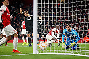 Arsenal's Eddie Nketiah (49) looks over to the assistant referee who rules this effort out offside during the Europa League group stage match between Arsenal and FK QARABAG at the Emirates Stadium, London, England on 13 December 2018.