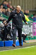 Brian Rice, manager of Hamilton Academical FC screams at his team during the Ladbrokes Scottish Premiership match between Hibernian FC and Hamilton Academical FC at Easter Road Stadium, Edinburgh, Scotland on 22 January 2020.