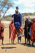 Maasai warriors dancing in village near Ngorongoro Crater, Tanzania