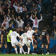 Chris Ashton, England, celebrates after scoring in the corner for the match winning try during the England V Scotland Pool B match during the IRB Rugby World Cup tournament. Eden Park, Auckland, New Zealand, 1st October 2011. Photo Tim Clayton...