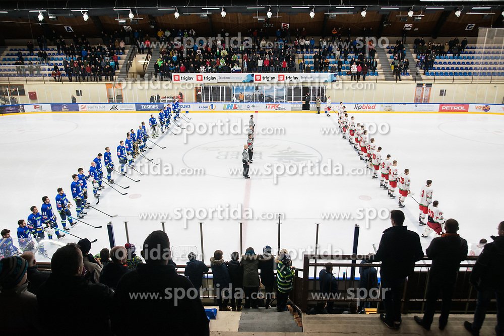 Slovenia and Belorusia during Ice Hockey match between National teams of Slovenia and Belarus at International tournament Euro ice hockey Challenge 2019, on February 9, 2019 in Ice Arena Bled, Slovenia. Photo by Peter Podobnik / Sportida