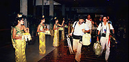 The White House Press is welcomed at the press hotel in Bali on the trip of President Ronald Reagan to the  ASEAN Ministerial meeting on April 24 1986<br /> <br /> Photo by Dennis Brack