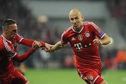 09.04.2014, Allianz Arena, Muenchen, GER, UEFA CL, FC Bayern Muenchen vs Manchester United, Viertelfinale, Rueckspiel, im Bild Freude bei Franck Ribery (FC Bayern Muenchen) und Arjen Robben (FC Bayern Muenchen) nach dessen Tor zum 3:1 // during the UEFA Champions League Round of 8, 2nd Leg match between FC Bayern Muenchen and Manchester United at the Allianz Arena in Muenchen, Germany on 2014/04/09. EXPA Pictures © 2014, PhotoCredit: EXPA/ Eibner-Pressefoto/ Stuetzle<br /> <br /> *****ATTENTION - OUT of GER*****