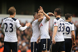 12 March 2017 - The FA Cup - (Sixth Round) - Tottenham Hotspur v Millwall - Son Heung-min of Tottenham Hotspur celebrates among team mates - Photo: Marc Atkins / Offside.
