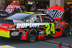 June 25, 2011; Sonoma, CA, USA;  Crew members work on the car of NASCAR Sprint Cup Series driver Jeff Gordon (not pictured) in the garage area during practice for the Toyota/Save Mart 350 at Infineon Raceway.