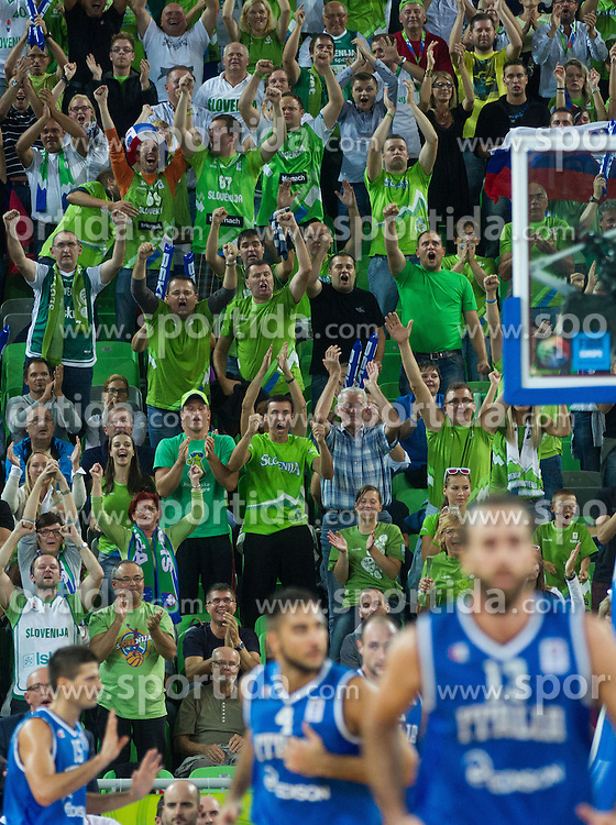 Fans during basketball match between National teams of Slovenia and Italy in Round 2 at Day 9 of Eurobasket 2013 on September 12, 2013 in Arena Stozice, Ljubljana, Slovenia. (Photo by Vid Ponikvar / Sportida.com)