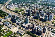 Nederland, Noord-Holland, Amsterdam-Zuid, 29-06-2018; Zuidas gezien vanuit Amsterdam-Zuid met World Trade Centre WTC. Station Amsterdam Zuid-WTC, Zuidplein, Gustav Mahlerplein, hoofdkantoor ABM AMRO. Atrium gebouw.<br /> Financial district South Axis.<br /> <br /> luchtfoto (toeslag op standard tarieven);<br /> aerial photo (additional fee required);<br /> copyright foto/photo Siebe Swart