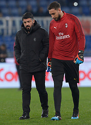 February 26, 2019 - Rome, Italy - Gennaro Gattuso and Gianluigi Donnarumma during the Italian Cup football match between SS Lazio and AC Milan at the Olympic Stadium in Rome, on february 26, 2019. (Credit Image: © Silvia Lore/NurPhoto via ZUMA Press)