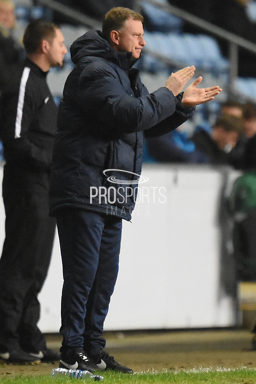 Coventry City manager Mark Robins applauds his team 2-0 during the EFL Sky Bet League 2 match between Coventry City and Wycombe Wanderers at the Ricoh Arena, Coventry, England on 22 December 2017. Photo by Alan Franklin.
