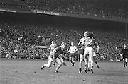 All Ireland Senior Football Championship Final, Dublin v Kerry, 26.09.1976, 09.26.1976, 26th September 1976, 26091976AISFCF, Dublin 3-08 Kerry 0-10, .Dublin midfield palyer Brian Mullins, trying to break through Kerry players to catch the ball,