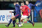 (L-R) Mitchell Dijks of Ajax U23, Mats Seuntjens of AZ Alkmaar U23, Noussair Mazraoui of Ajax U23