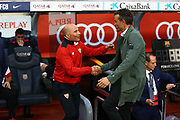 Head coach Jorge Sampaoli of Sevilla FC shakes hands with Head coach Luis Enrique of FC Barcelona ahead of the Spanish championship Liga football match between FC Barcelona and Sevilla FC on April 5, 2017 at Camp Nou stadium in Barcelona, Spain. <br /> Photo Manuel Blondeau / AOP Press / ProSportsImages / DPPI