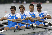 2005 FISA World Cup, Rotsee, Lucerne, SWITZERLAND, 08.07.2005 ITA M4-, Bow Mauro Mulazzani, Valerio Massimo, Aldo Tramonte and Guiseppe De Vita.  move away from the start  on the opening day of the final round of the 2005 FISA Rowing World Cup..© Peter Spurrier.  email images@intersport-images..[Mandatory Credit Peter Spurrier/ Intersport Images] Rowing Course, Lake Rottsee, Lucerne, SWITZERLAND.