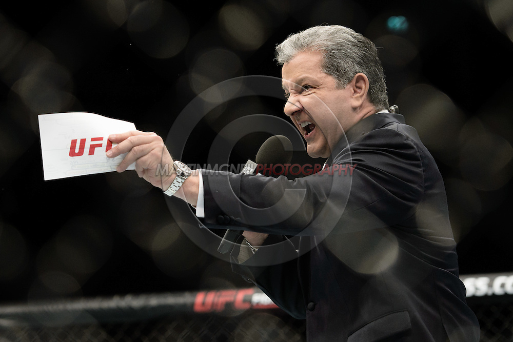 GLASGOW, SCOTLAND, JULY 18, 2015: Bruce Buffer during UFC Fight Night 72 inside the SSE Hydro Arena in Glasgow. (Martin McNeil for ESPN)