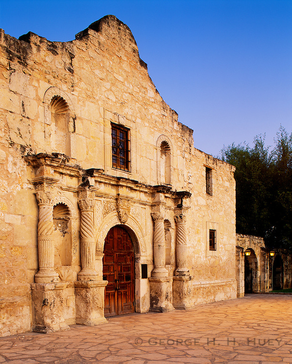 0506-1023B~ Copyright:  George H. H. Huey ~ Facade of the Alamo, at dusk.   San Antonio, Texas.