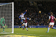 Brighton & Hove Albion winger Anthony Knockaert (11) wins a header during the EFL Sky Bet Championship match between Brighton and Hove Albion and Aston Villa at the American Express Community Stadium, Brighton and Hove, England on 18 November 2016. Photo by Phil Duncan.