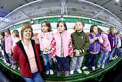 Children of kindergarten Mojca from Dravlje, Ljubljana at visit of Slovenian Ice Hockey National team during the IIHF World Championship Division 1 Group B tournament, on April 21, 2010, in Hala Tivoli, Ljubljana, Slovenia.  (Photo by Vid Ponikvar / Sportida)