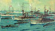 Turkish (ottoman) Navy in battle formation. Circa 1915