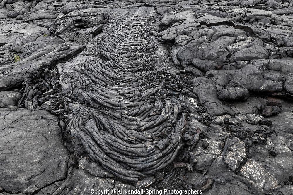 HI00263-00...HAWAI'I - Ropy pahoehoe lava at Alanui Kahiko Lave Flow in Volcanoes National Park on the island of Hawai'i.