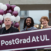 09.03.2017<br /> Pictured at the University of Limerick Post Grad Open Evening in the North Campus Pavilion were, Prof. Eoin Deveraux, Associate Professor, Sociology &amp; Assistant Dean, Research, Michael 'Ras Mikey' Courtney, Irish World Academy and Dr. Ann Ledwith, Director CPE UL. Picture: Alan Place