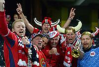 Fussball International  WM Qualifikation 2014   12.10.2012 Schweiz - Norwegen JUBEL NOR Fans feiern das Tor zum 1-1 Ausgleich