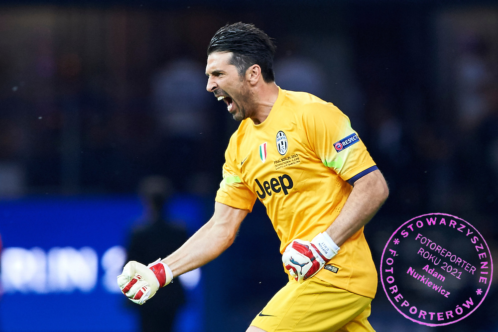 Goalkeeper Gianluigi Buffon from Juventus celebrates after goal for Juventus during the 2014/15 UEFA Champions League Final between Juventus and FC Barcelona at Olympiastadion on June 6, 2015 in Berlin, Germany.<br /> Germany, Berlin, June 6, 2015<br /> <br /> Picture also available in RAW (NEF) or TIFF format on special request.<br /> <br /> For editorial use only. Any commercial or promotional use requires permission.<br /> <br /> Adam Nurkiewicz declares that he has no rights to the image of people at the photographs of his authorship.<br /> <br /> Mandatory credit:<br /> Photo by &copy; Adam Nurkiewicz / Mediasport