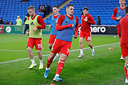Wales defender Connor Roberts warming up during the Friendly match between Wales and Belarus at the Cardiff City Stadium, Cardiff, Wales on 9 September 2019.