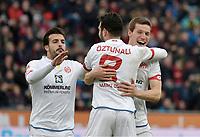 0:2 Jubel v.l. Giulio Donati, Torschuetze Levin Oeztunali, Gaetan Bussmann (Mainz) <br /> Leverkusen, 25.02.2017, Fussball Bundesliga, Bayer 04 Leverkusen - 1. FSV Mainz 05 0:2<br /> <br /> Norway only
