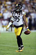 Pittsburgh Steelers outside linebacker Jarvis Jones (95) flips the ball to an official during the 2016 NFL week 1 regular season football game against the Washington Redskins on Monday, Sept. 12, 2016 in Landover, Md. The Steelers won the game 38-16. (©Paul Anthony Spinelli)