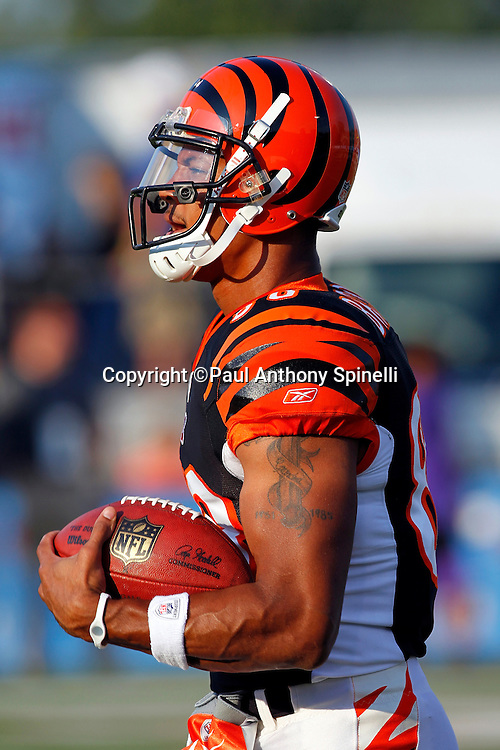 Cincinnati Bengals rookie wide receiver Dezmon Briscoe (88) catches a pregame pass during the NFL Pro Football Hall of Fame preseason football game between the Dallas Cowboys and the Cincinnati Bengals on Sunday, August 8, 2010 in Canton, Ohio. The Cowboys won the game 16-7. (©Paul Anthony Spinelli)