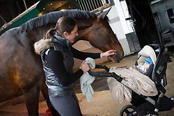 Smits-Vanhasselt Vicky (BEL) - Daianira vd Helle<br /> met zoontje Nikias Vanderhasselt<br /> Stal de Gouden Leeuw - Belsele 2012<br /> © Dirk Caremans