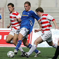 Hamilton Accies v St Johnstone..13.08.05<br />Ryan Stevenson is closed down by Lee Hardy and Marvyn Wilson<br /><br />Picture by Graeme Hart.<br />Copyright Perthshire Picture Agency<br />Tel: 01738 623350  Mobile: 07990 594431