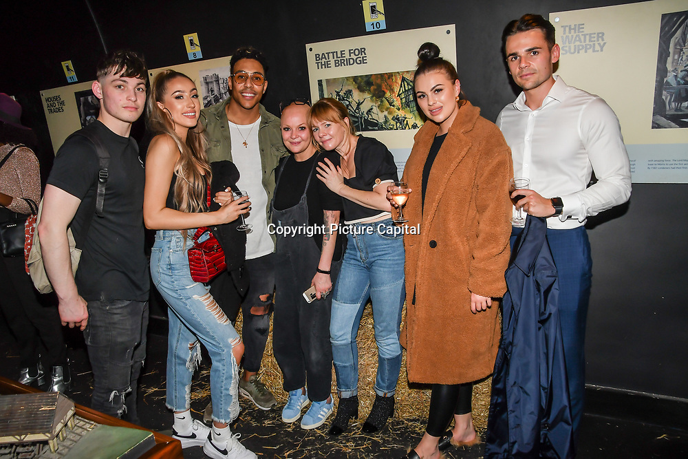 Liam Craigie (L) Gail Porter and Emma attend Press night an halloween experience at  London Tombs at The London Bridge Experience, UK. 18 October 2018.