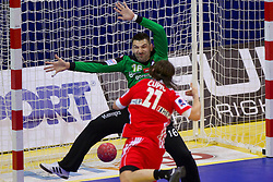Primoz Prost of Slovenia during handball match between Slovenia and Croatia in  2nd Round of Preliminary Round of 10th EHF European Handball Championship Serbia 2012, on January 18, 2012 in Millennium Center, Vrsac, Serbia. Croatia defeated Slovenia 31-29. (Photo By Vid Ponikvar / Sportida.com)