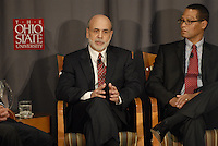 Chairman of the Federal Reserve Board of the United States Ben Bernanke (left) and CEO of Sophisticated Systems Dwight Smith (right) at the 'Conversation on the Economy,' a forum held at Pfahl Hall in the Fisher College of Business at Ohio State on Nov. 30, 2010..